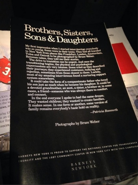Intro page to Bruce Weber's photos of trans* models in the January 2014 issue of Vogue, titled Brothers, Sisters, Sons & Daughters by Bruce Weber