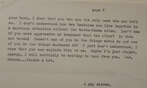 5. Butch, Trans letter to Del and Phyllis on how to be straight-acting _5413 CROPPED